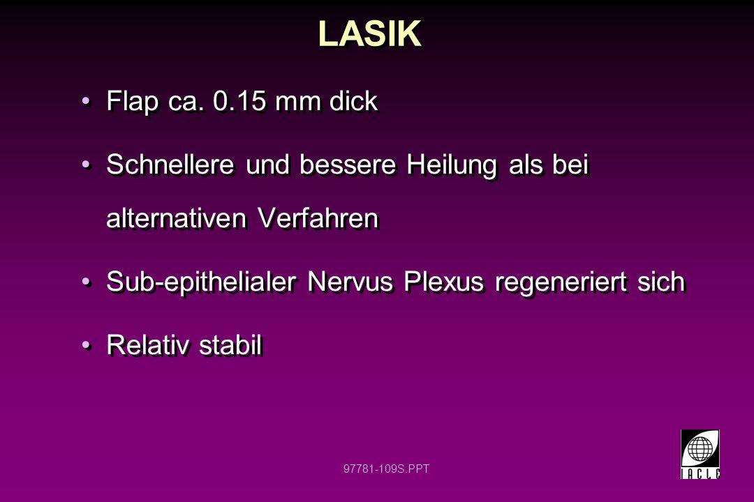 LASIK Flap ca. 0.15 mm dick. Schnellere und bessere Heilung als bei alternativen Verfahren. Sub-epithelialer Nervus Plexus regeneriert sich.