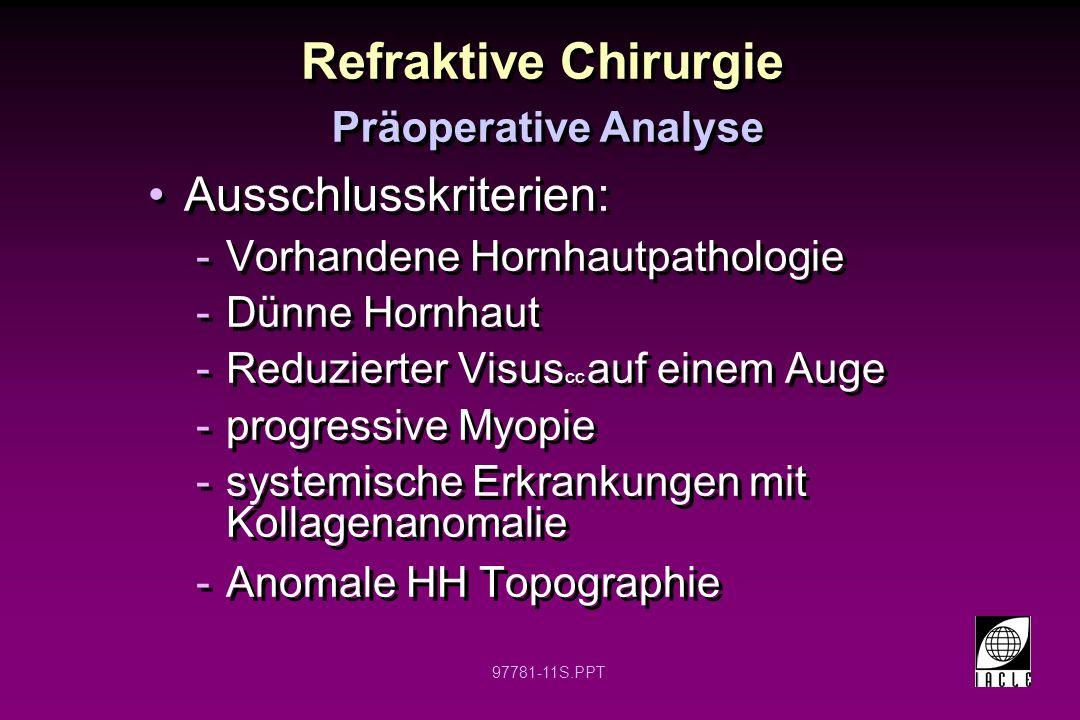 Refraktive Chirurgie Ausschlusskriterien: Präoperative Analyse