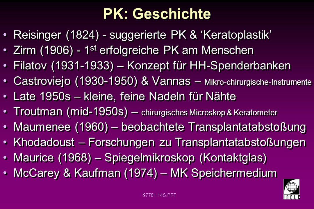 PK: Geschichte Reisinger (1824) - suggerierte PK & 'Keratoplastik'
