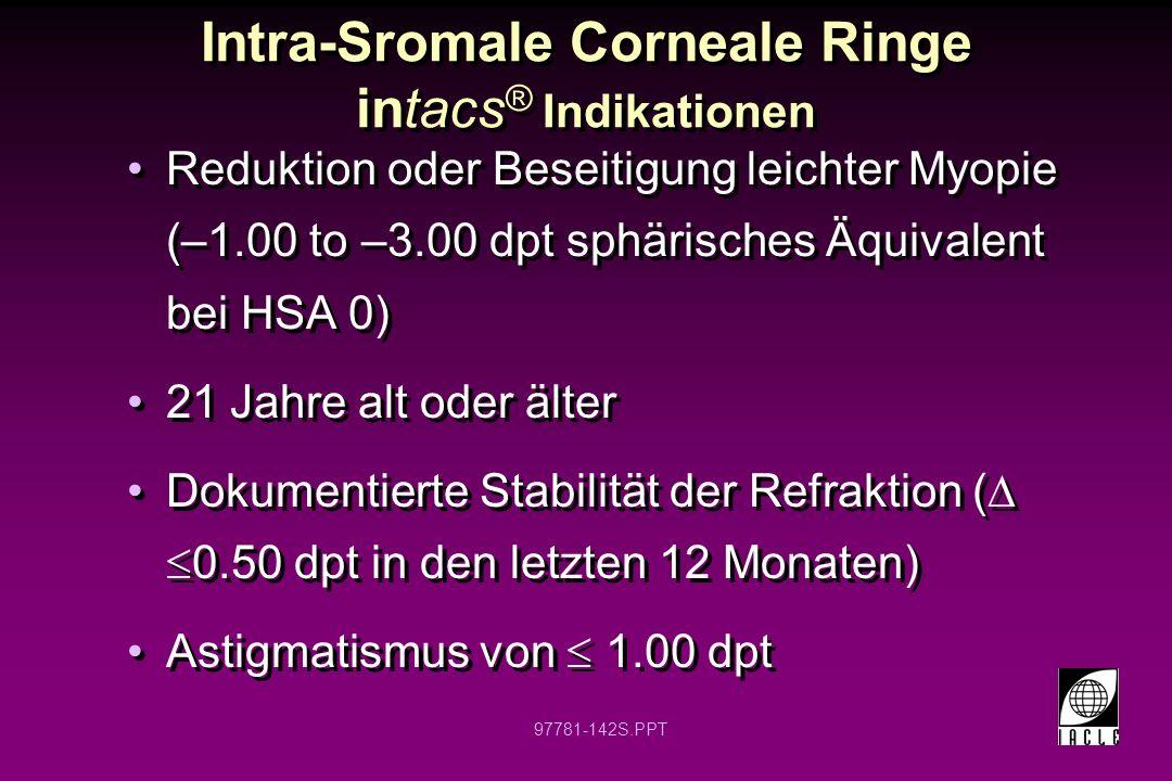 Intra-Sromale Corneale Ringe intacs® Indikationen