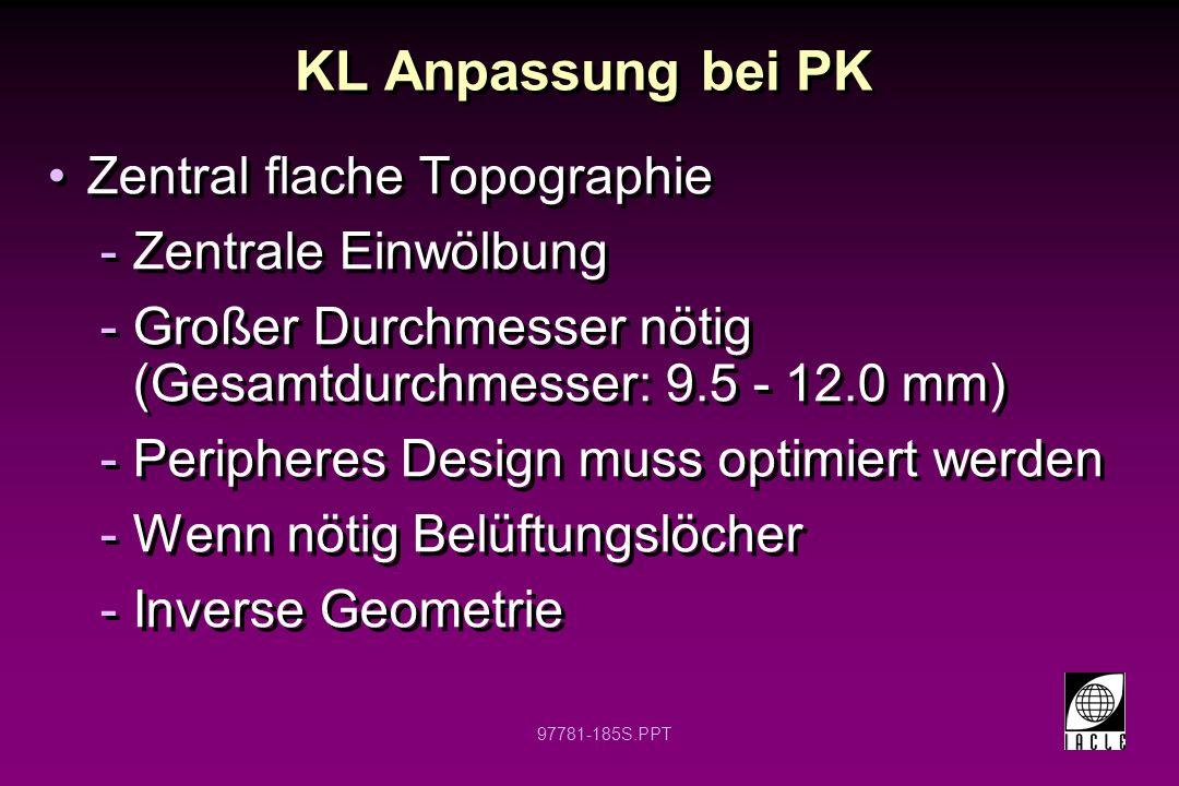 KL Anpassung bei PK Zentral flache Topographie Zentrale Einwölbung