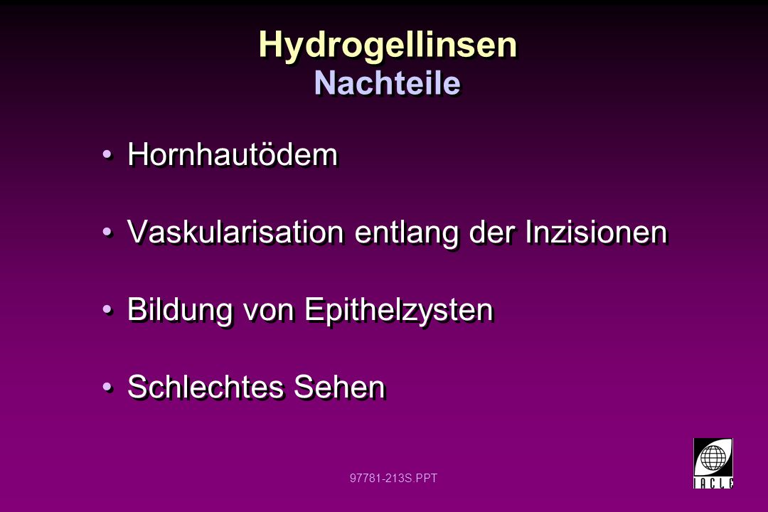 Hydrogellinsen Nachteile Hornhautödem