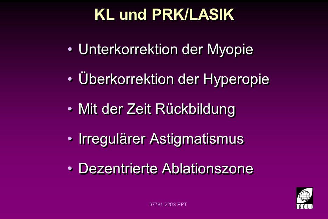 KL und PRK/LASIK Unterkorrektion der Myopie