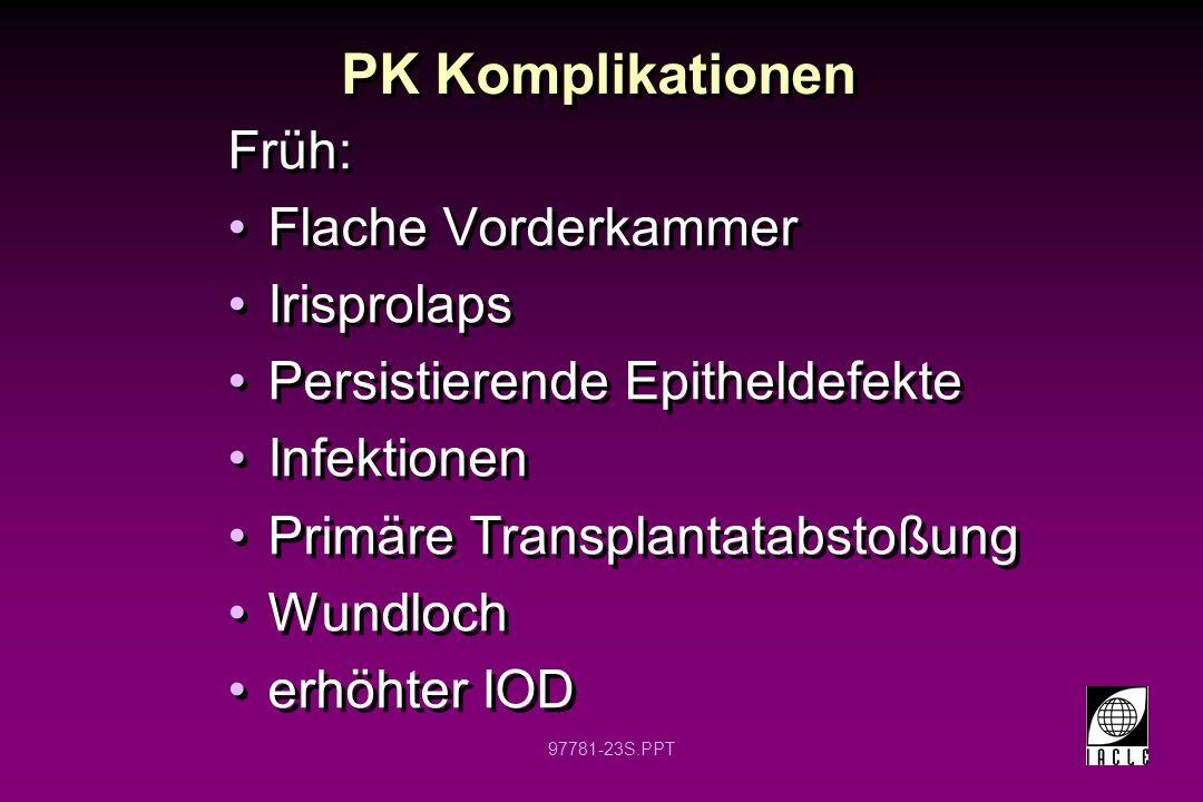 PK Komplikationen Früh: Flache Vorderkammer Irisprolaps