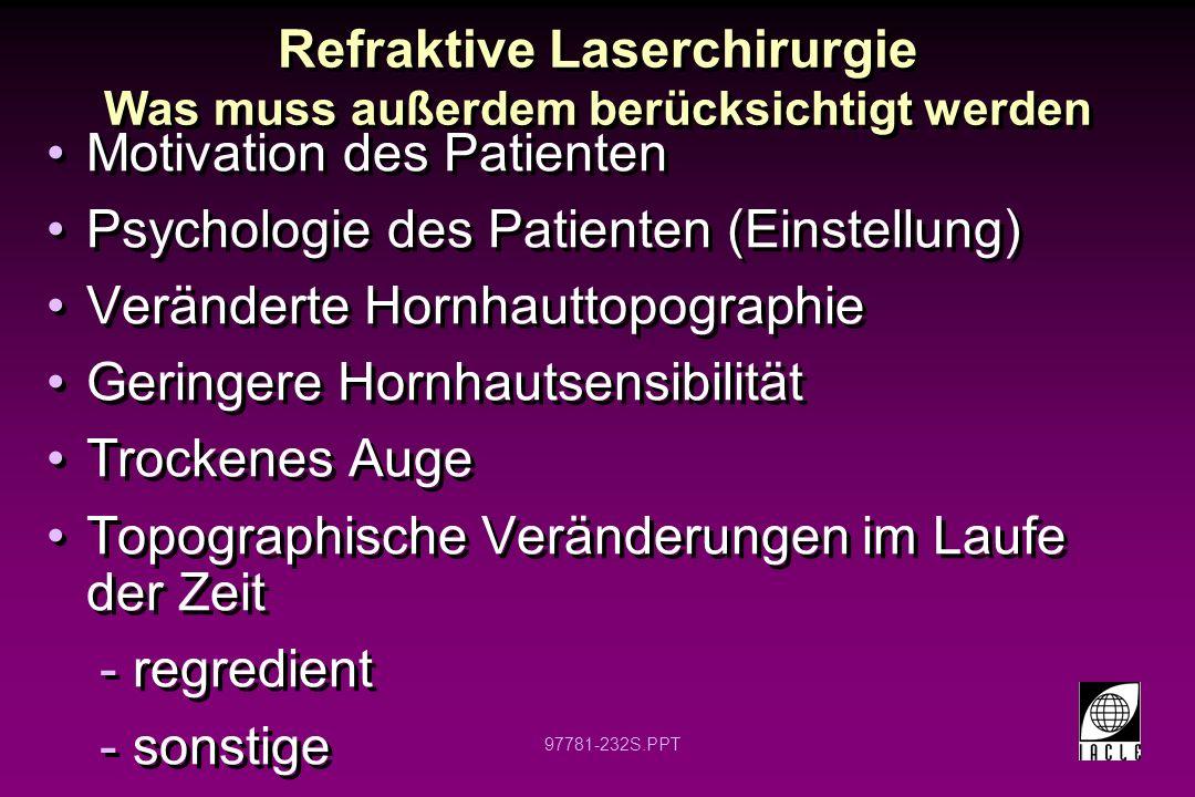 Refraktive Laserchirurgie Was muss außerdem berücksichtigt werden