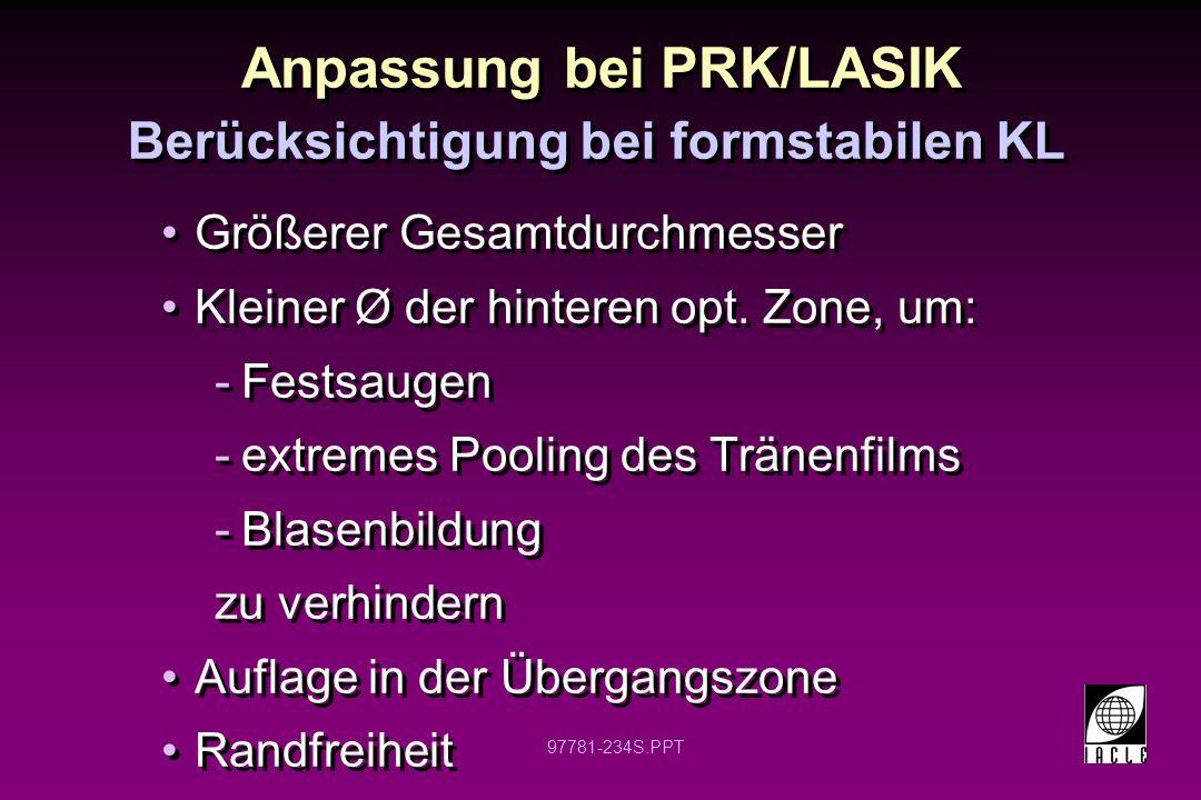 Anpassung bei PRK/LASIK