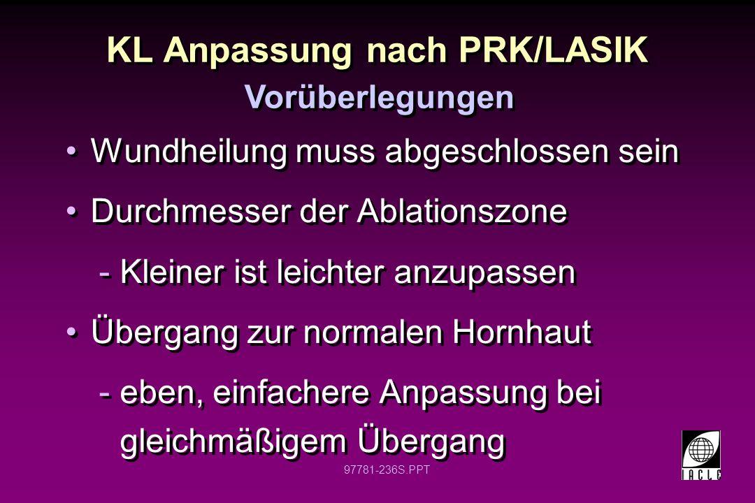 KL Anpassung nach PRK/LASIK