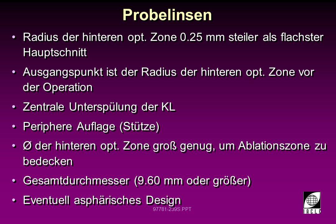 Probelinsen Radius der hinteren opt. Zone 0.25 mm steiler als flachster Hauptschnitt.