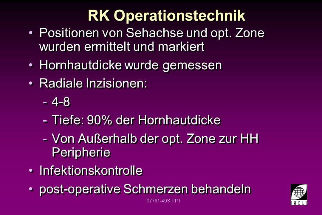 RK Operationstechnik Positionen von Sehachse und opt. Zone wurden ermittelt und markiert. Hornhautdicke wurde gemessen.