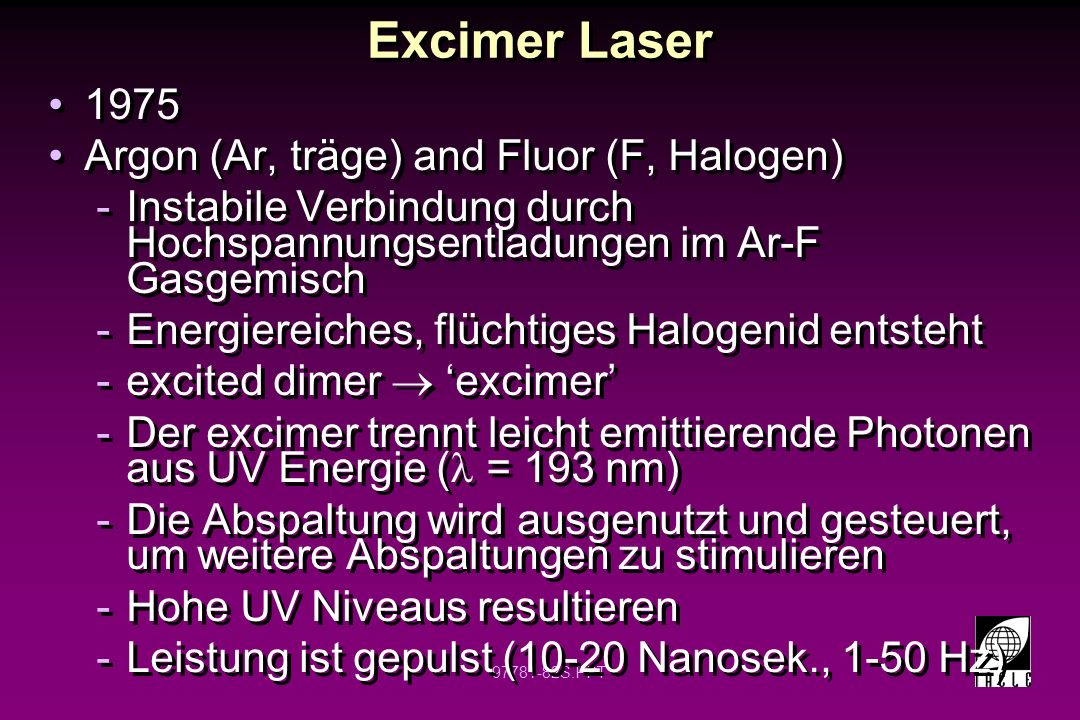 Excimer Laser 1975 Argon (Ar, träge) and Fluor (F, Halogen)