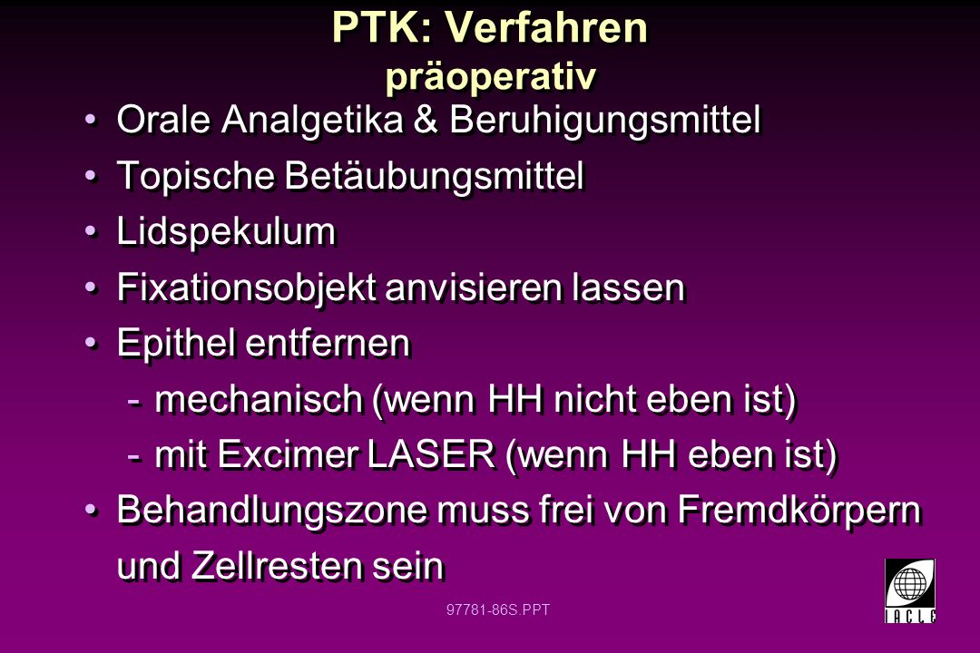PTK: Verfahren präoperativ