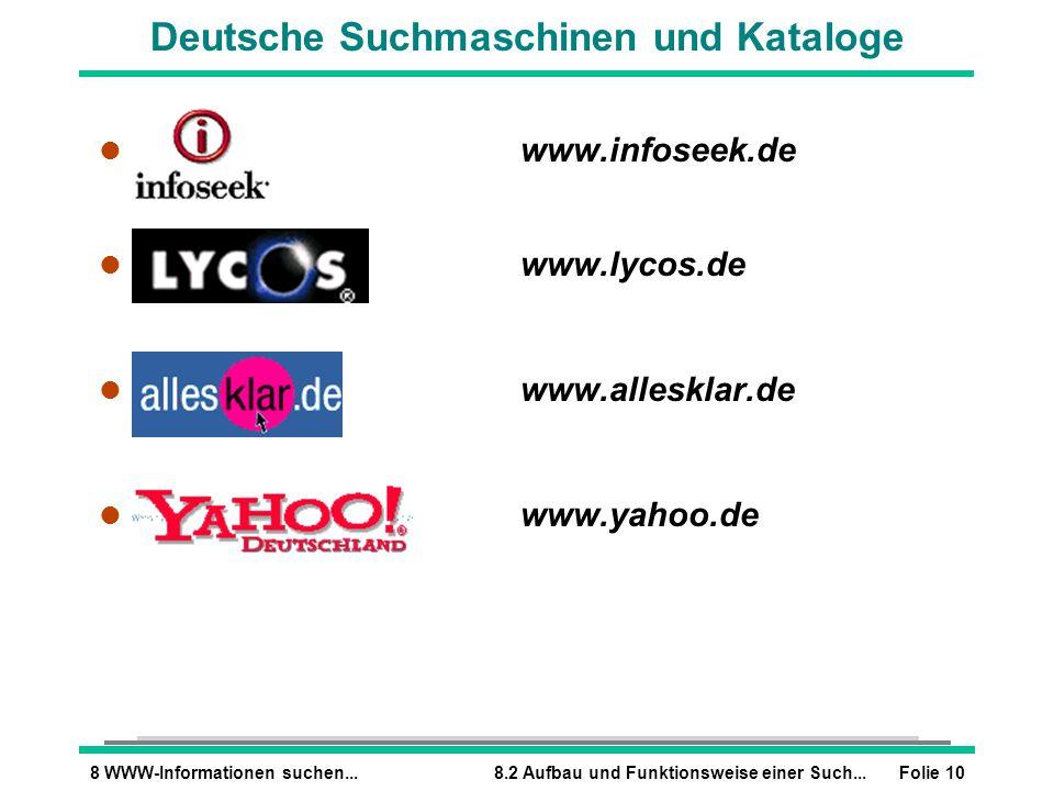 Deutsche Suchmaschinen und Kataloge