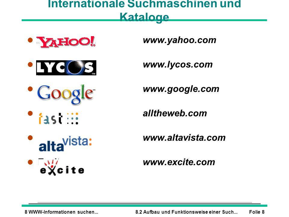 Internationale Suchmaschinen und Kataloge