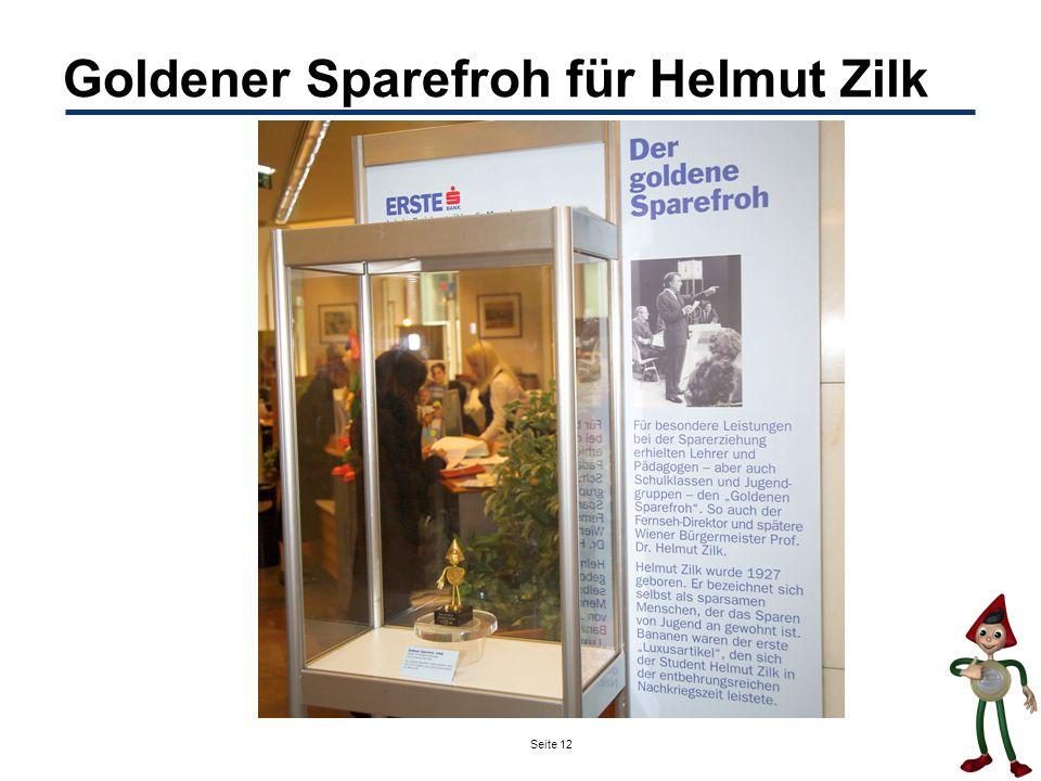 Goldener Sparefroh für Helmut Zilk