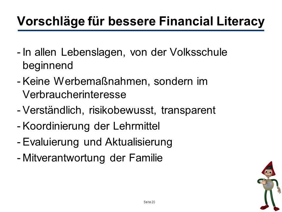 Vorschläge für bessere Financial Literacy