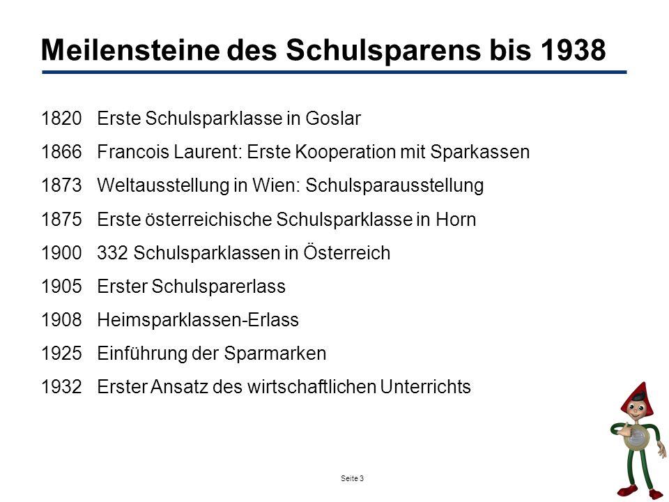 Meilensteine des Schulsparens bis 1938