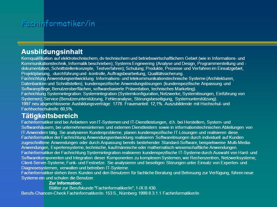 Fachinformatiker/in Ausbildungsinhalt Tätigkeitsbereich