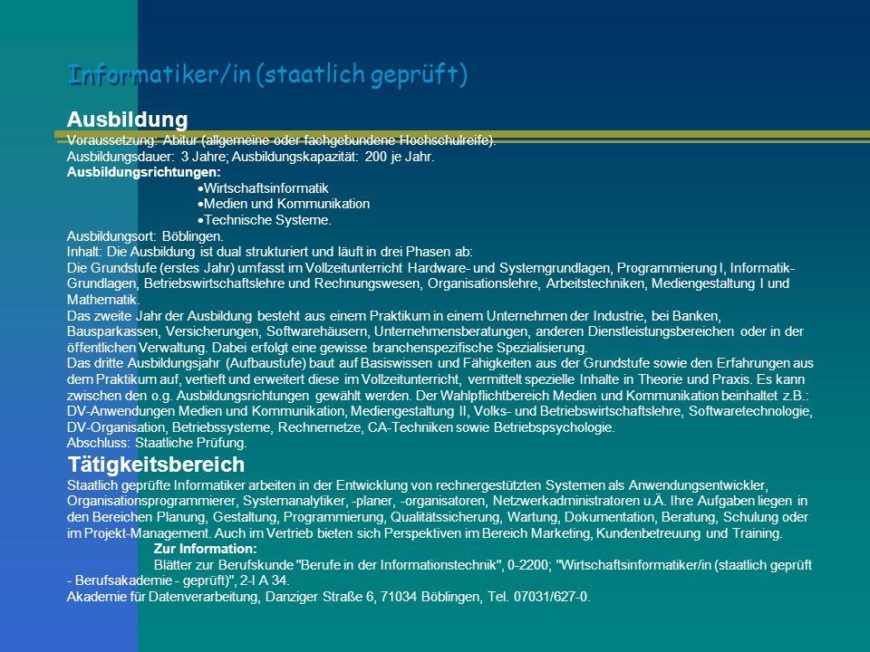 Informatiker/in (staatlich geprüft)