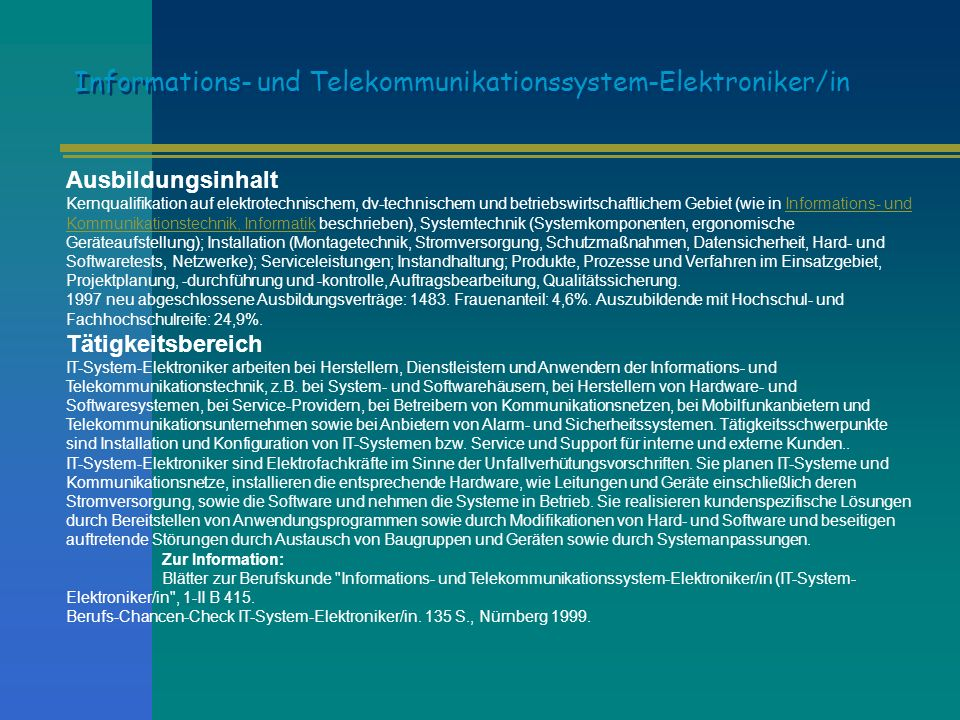 Informations- und Telekommunikationssystem-Elektroniker/in