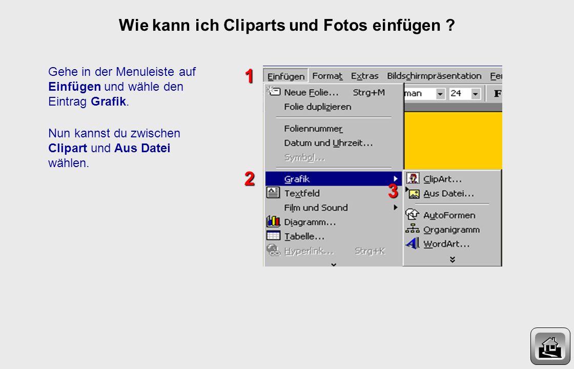 Wie kann ich Cliparts und Fotos einfügen