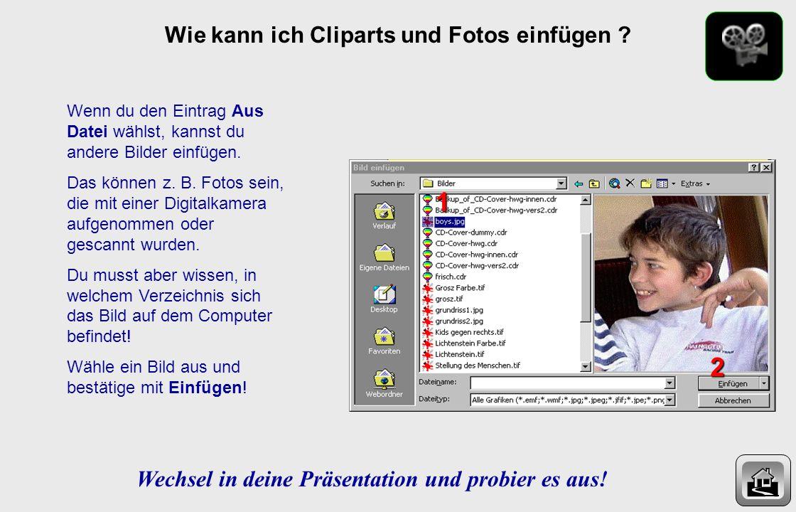 1 2 Wie kann ich Cliparts und Fotos einfügen