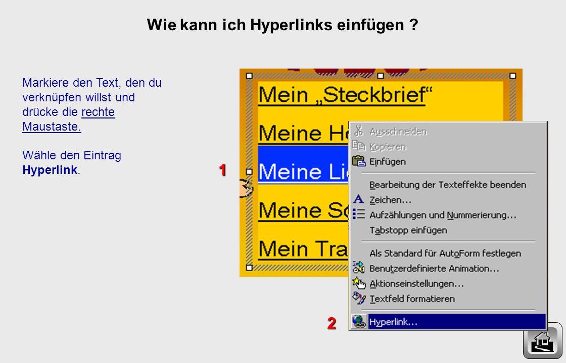Wie kann ich Hyperlinks einfügen