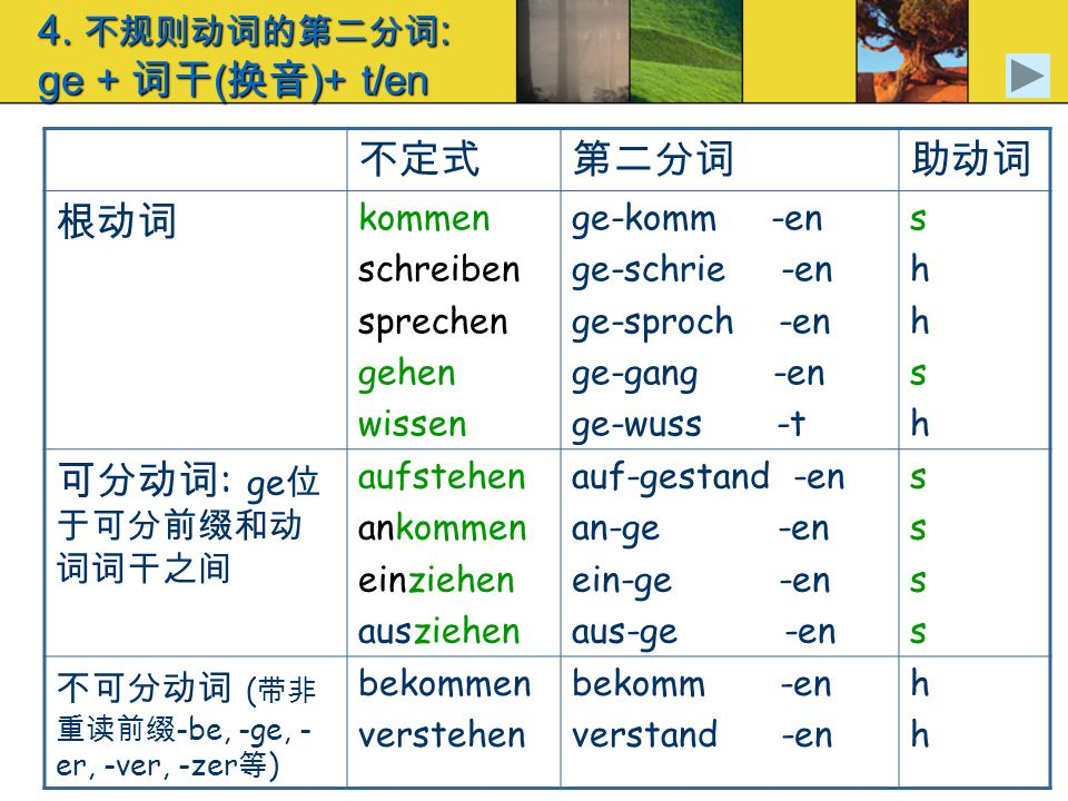 4. 不规则动词的第二分词: ge + 词干(换音)+ t/en
