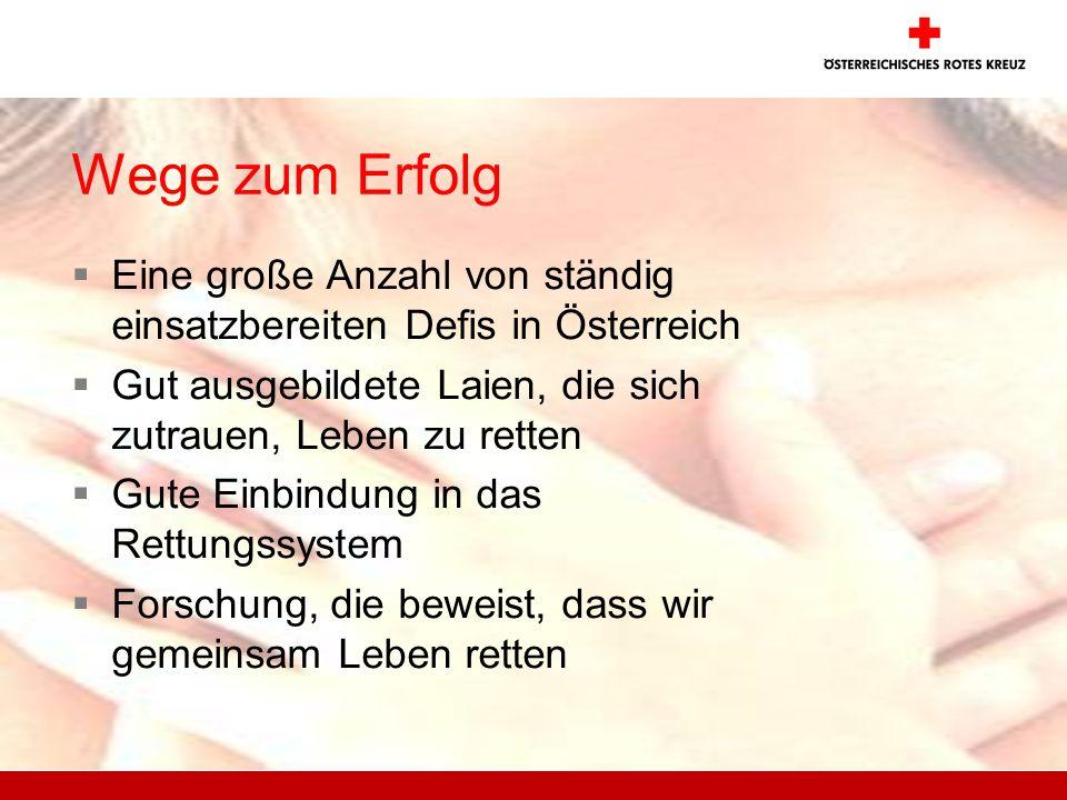 Wege zum Erfolg Eine große Anzahl von ständig einsatzbereiten Defis in Österreich. Gut ausgebildete Laien, die sich zutrauen, Leben zu retten.