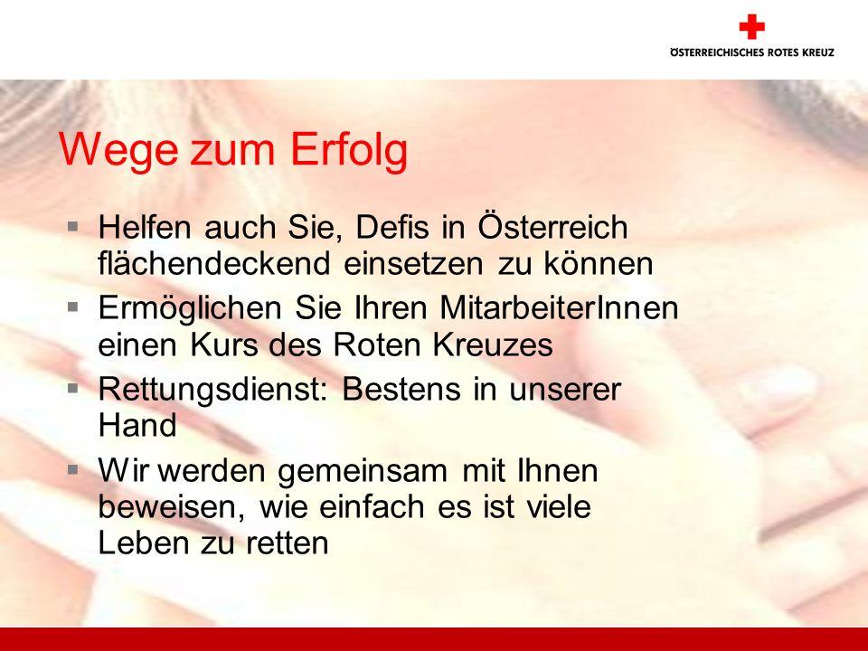 Wege zum Erfolg Helfen auch Sie, Defis in Österreich flächendeckend einsetzen zu können.