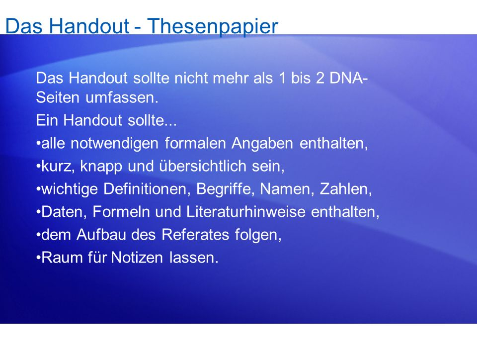 Das Handout - Thesenpapier