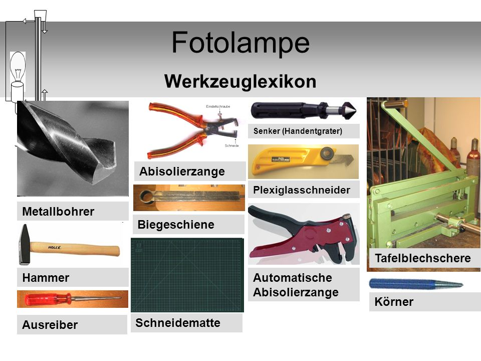 Fotolampe Werkzeuglexikon
