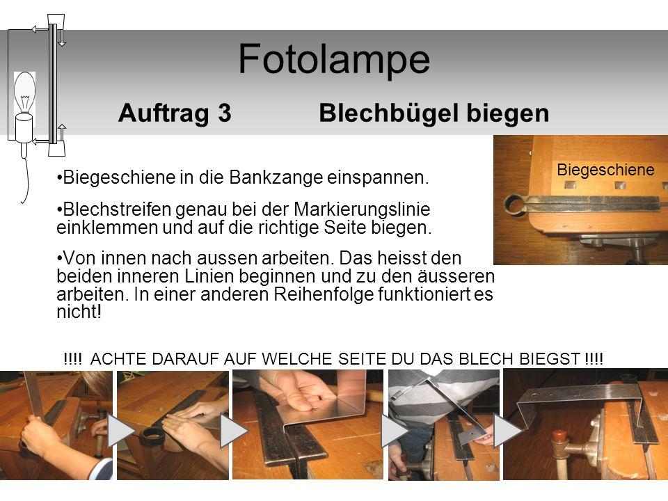 Fotolampe Auftrag 3 Blechbügel biegen