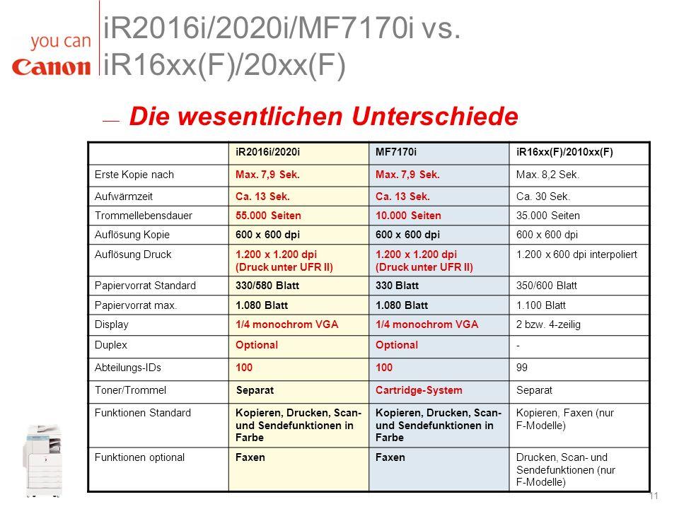 iR2016i/2020i/MF7170i vs. iR16xx(F)/20xx(F)