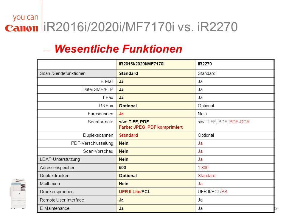 iR2016i/2020i/MF7170i vs. iR2270 Wesentliche Funktionen