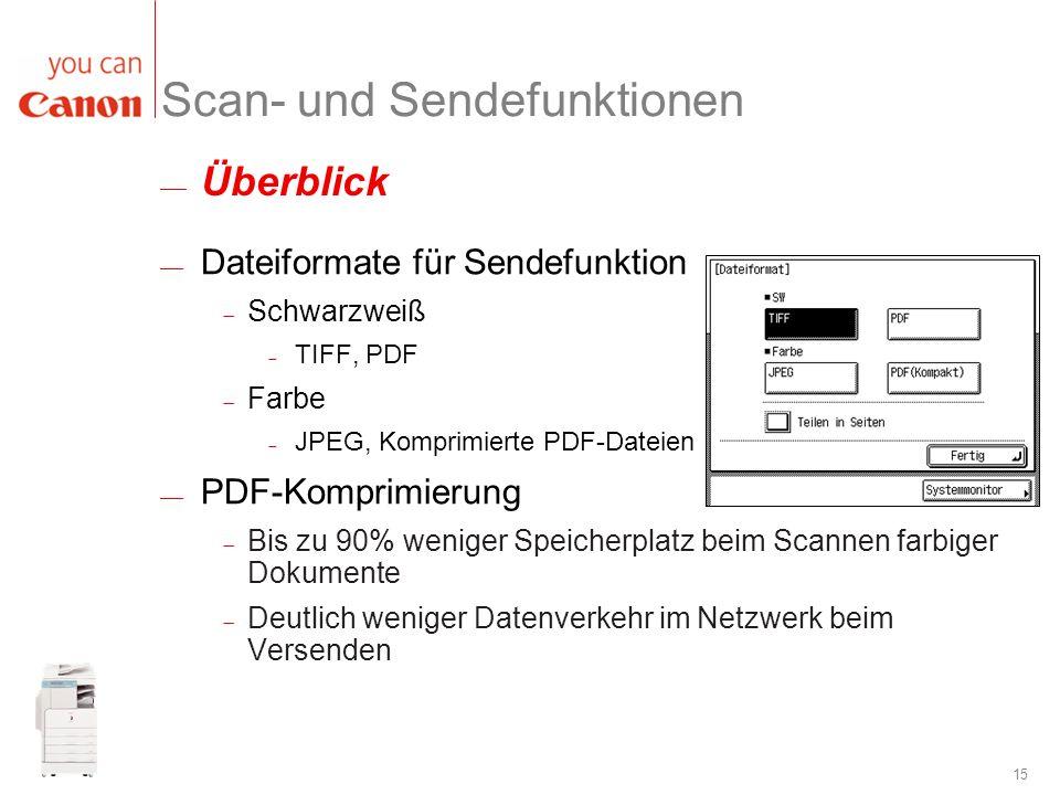 Scan- und Sendefunktionen