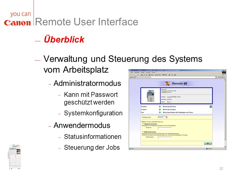 Remote User Interface Überblick