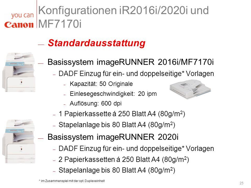 Konfigurationen iR2016i/2020i und MF7170i