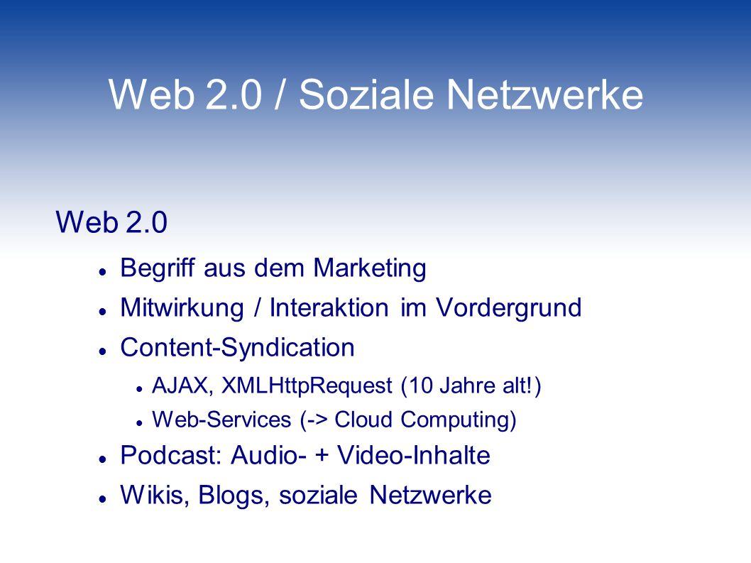 Web 2.0 / Soziale Netzwerke