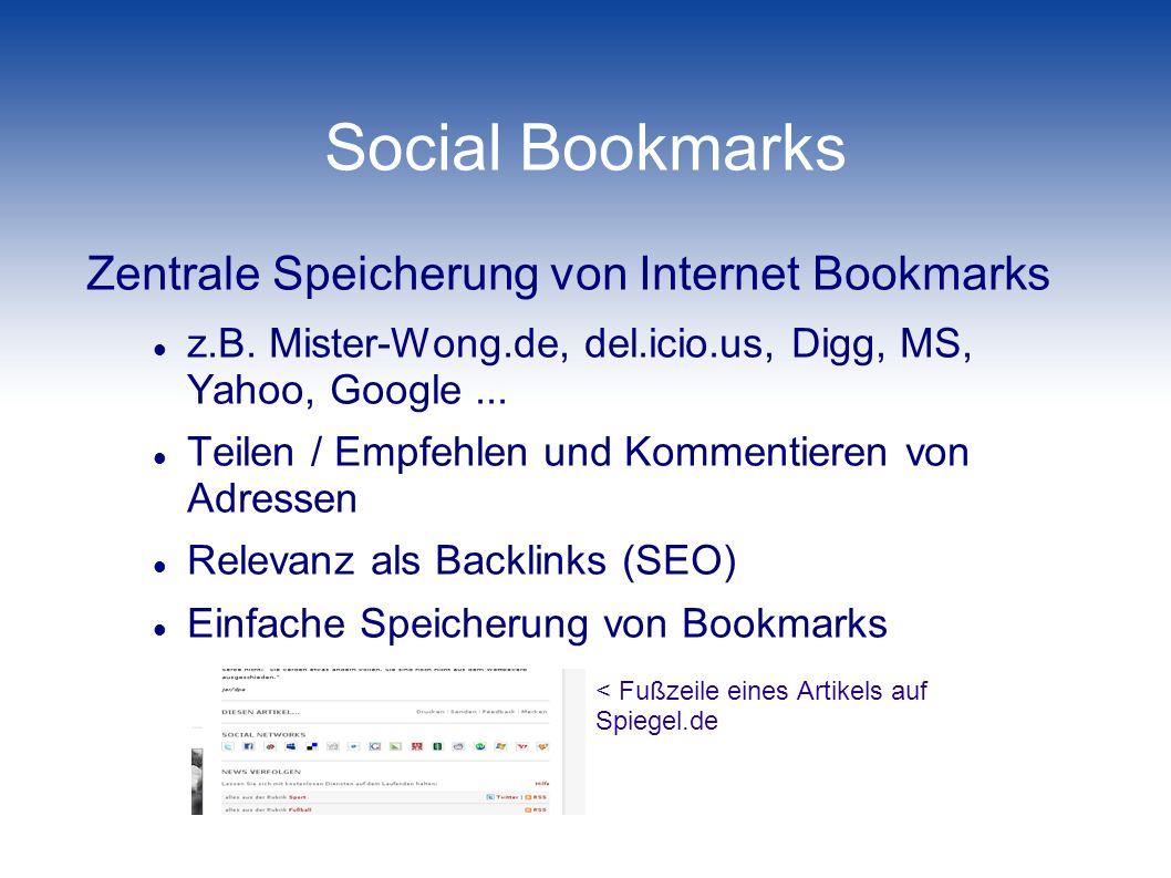 Social Bookmarks Zentrale Speicherung von Internet Bookmarks
