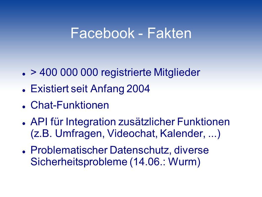 Facebook - Fakten > 400 000 000 registrierte Mitglieder