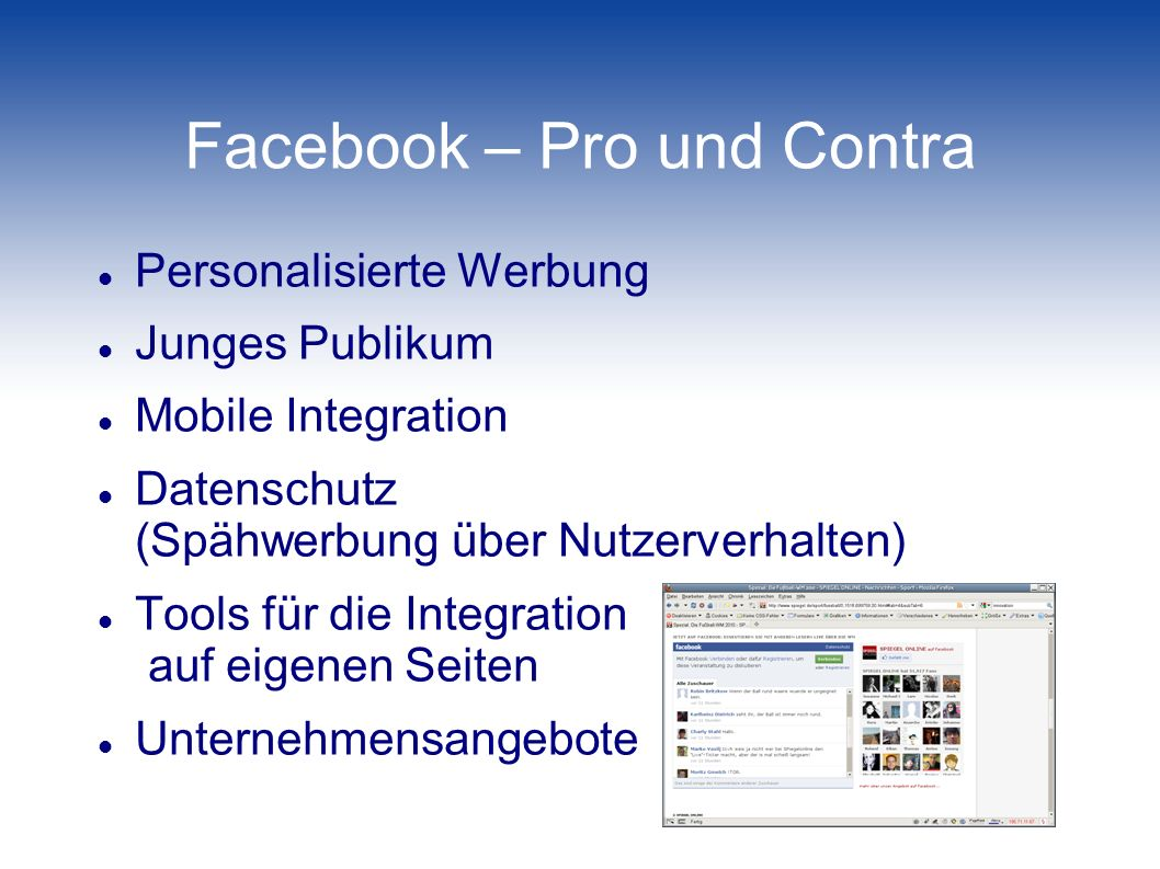 Facebook – Pro und Contra