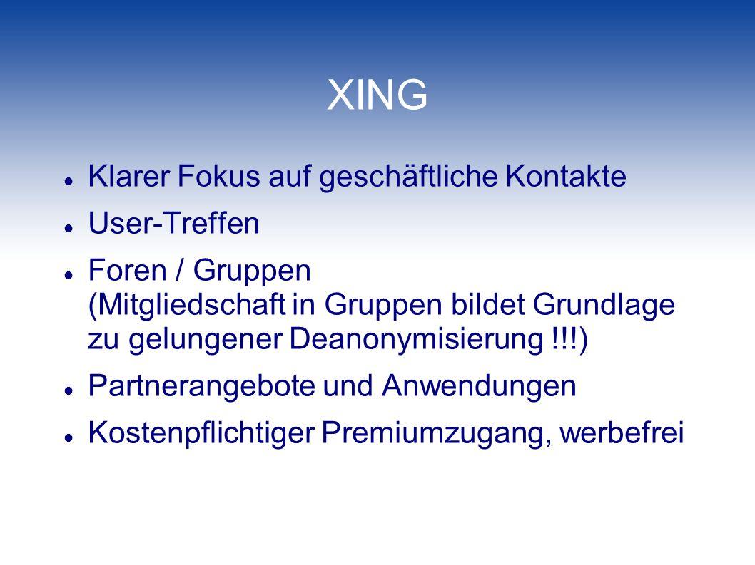 XING Klarer Fokus auf geschäftliche Kontakte User-Treffen