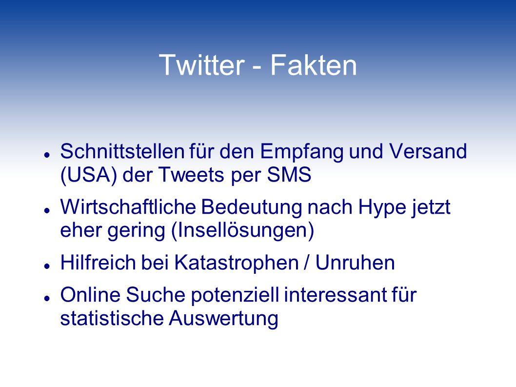 Twitter - Fakten Schnittstellen für den Empfang und Versand (USA) der Tweets per SMS.