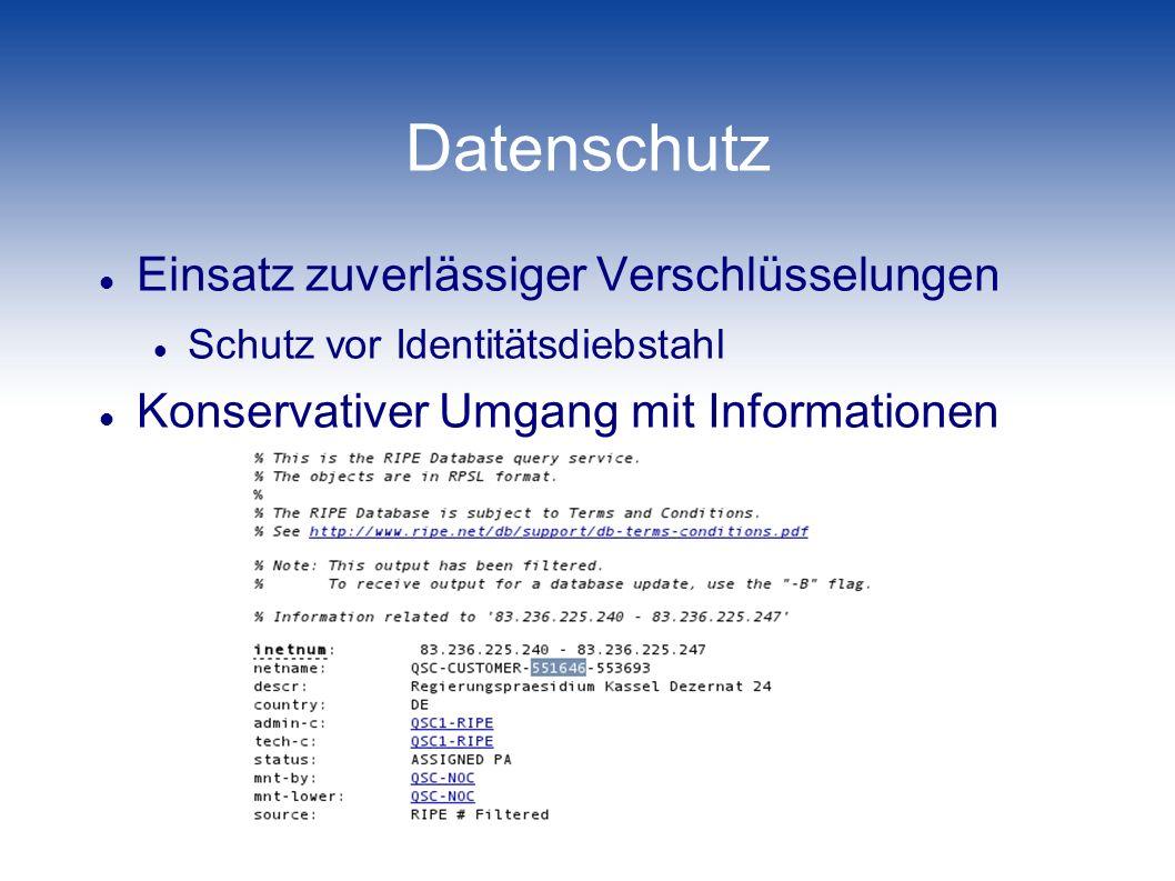 Datenschutz Einsatz zuverlässiger Verschlüsselungen