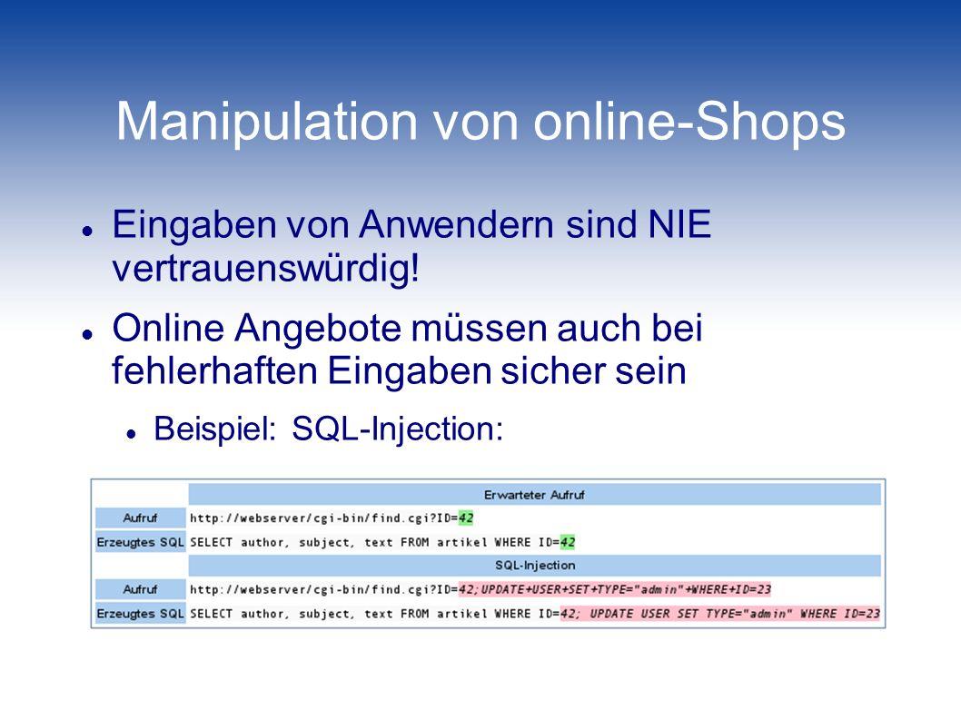Manipulation von online-Shops