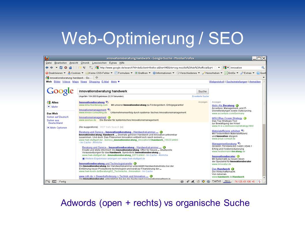 Adwords (open + rechts) vs organische Suche
