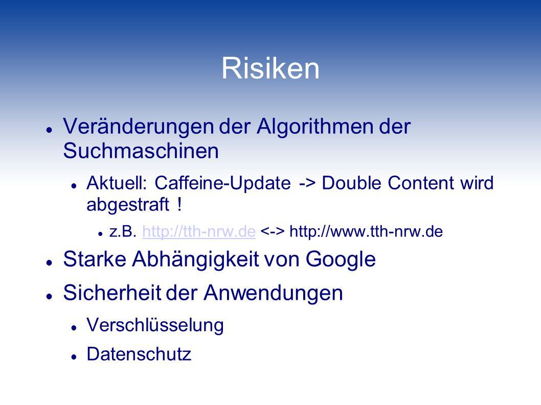 Risiken Veränderungen der Algorithmen der Suchmaschinen
