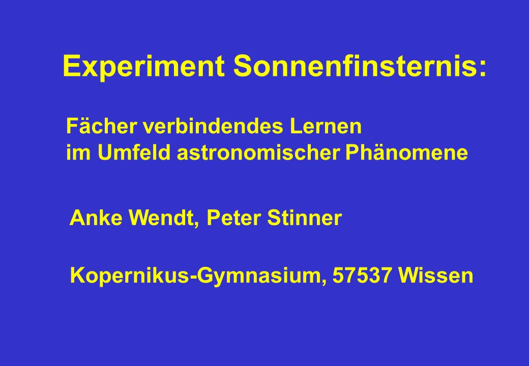 Experiment Sonnenfinsternis: