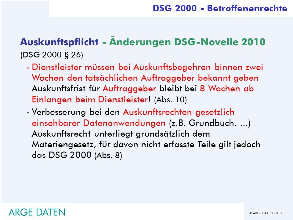 Auskunftspflicht - Änderungen DSG-Novelle 2010