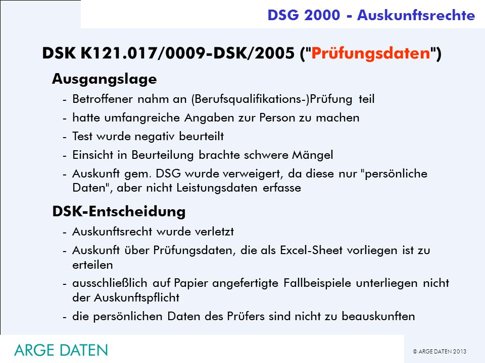 DSK K121.017/0009-DSK/2005 ( Prüfungsdaten )